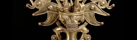 Anthropomorphic bat pectoral, Tairona, gold alloy, AD900–1600 © Museo del Oro – Banco de la República, Colombia