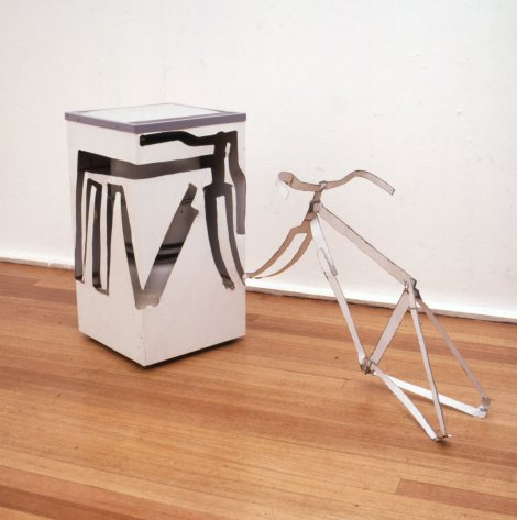 Bill Woodrow RA, Spin Dryer with Bicycle Frame Including Handlebars, 1981, Spin dryer, 67 x 107 x 64 cm, Collection of the artist
