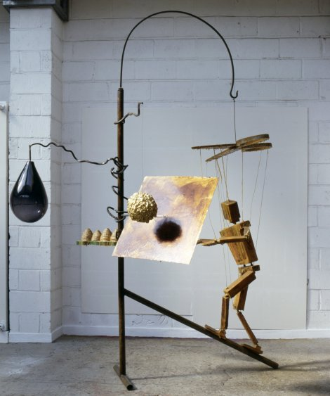 Bill Woodrow RA, Beekeeper and Four Hives, 1997, Glass, urethane foam, wood, steel, wax, rope, gold leaf, shellac, 300 x 220 x 174 cm, Collection of the artist