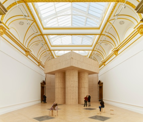 Installation (Blue Pavilion) by Pezo von Ellrichshausen.  Photo © Royal Academy of Arts, London, 2014. Photography: James Harris.